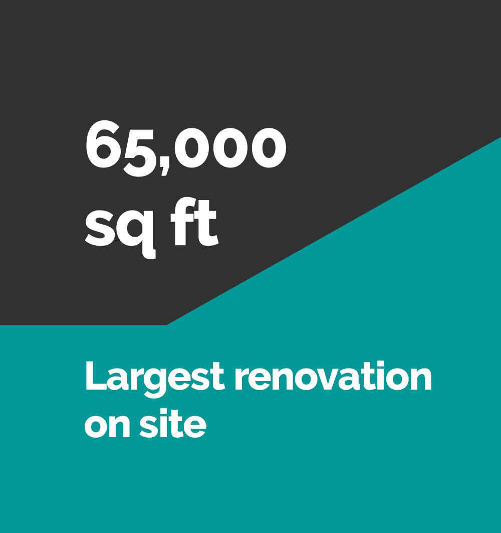 65000 sq ft largest renovation on site